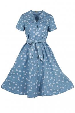Дънкова рокля на точки 2863