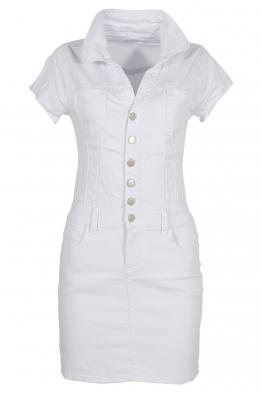 Къса дънкова рокля GD6661 бяла