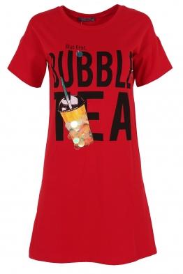 Къса рокля  BUBBLE TEA червена