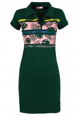 Къса рокля МОР с щампа зелена