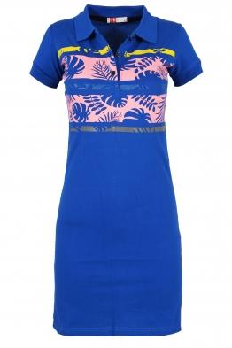 Къса рокля МОР с щампа кралско синя