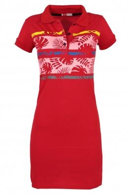 Къса рокля МОР с щампа червена