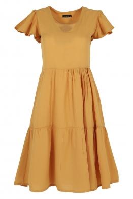 Къса рокля на волани ELIA  C-1 горчица