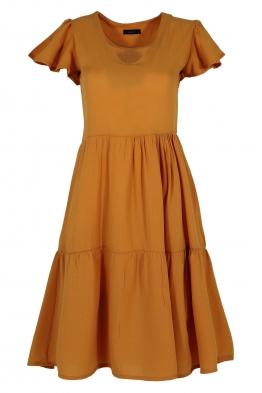 Къса рокля на волани ELIA  C-1 карамел