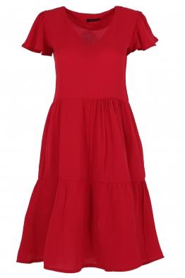 Къса рокля на волани ELIA  C-1 червена