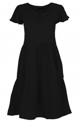 Къса рокля на волани ELIA  C-1 черна