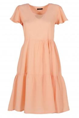 Къса рокля на волани ELIA  C-1 ябълков цвят