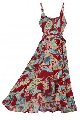 Дълга рокля 9163 бордо на цветя