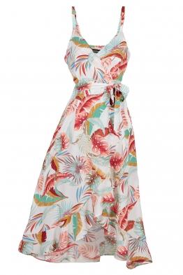 Дълга рокля 9163 бяла на цветя