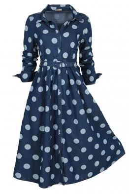 Дънкова рокля на точки 8130-245