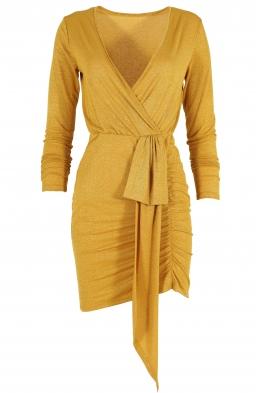 Къса дамска рокля BAMBINA горчица