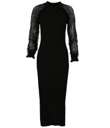 Дълга плетена рокля 1505 черна