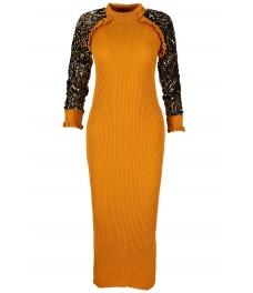Дълга плетена рокля 1510 горчица