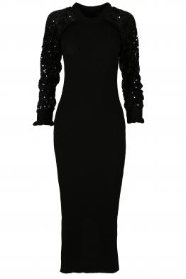 Дълга плетена рокля  1510 черна