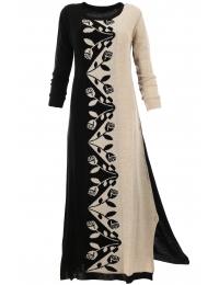 Дълга плетена рокля ЛАНА  А-1 черно с бежово