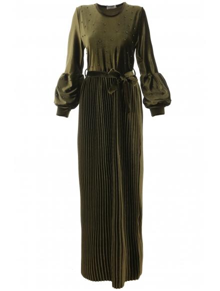 Дълга рокля Клаудия зелена