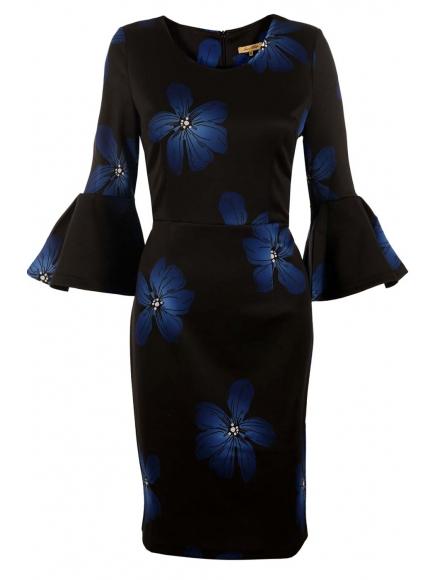 Дамска рокля ЛЕОНЕЛА сини цветя
