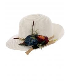 Дамска сламена шапка ПАПАЯ бяла