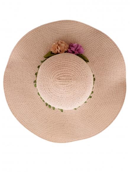 Дамска сламена шапка ВЕДРА  розова