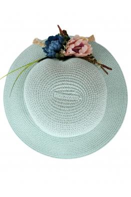 Дамска сламена шапка ПАПАЯ светло синя