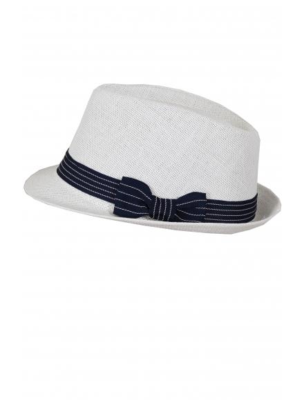 Дамска сламена шапка МЕЙЛ бяла със синьо