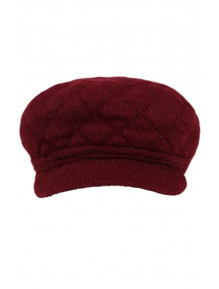 Дамски плетен каскет 003 бордо
