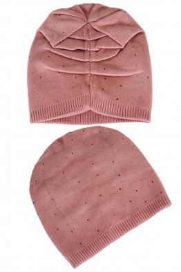 Зимна шапка с камъчета 002 розова