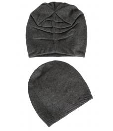 Зимна шапка с камъчета 002 тъмно сива
