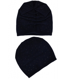 Зимна шапка с камъчета 002 тъмно синя