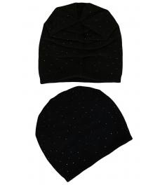 Зимна шапка с камъчета 002 черна