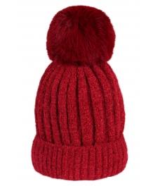 Зимна шапка 001 винено червена