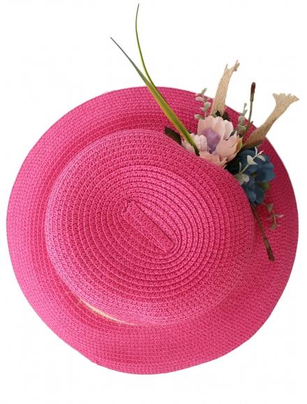 Дамска сламена шапка ПАПАЯ цикламена