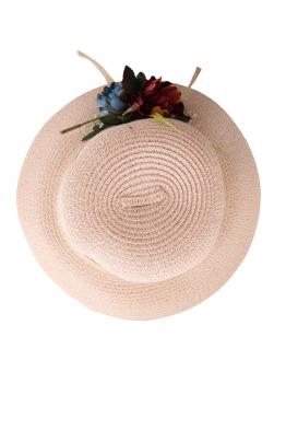 Дамска сламена шапка ПАПАЯ розова