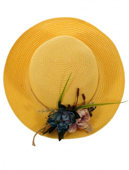 Дамска сламена шапка ПАПАЯ жълта