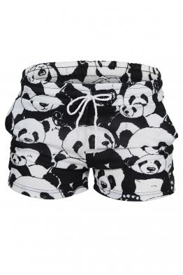Дамски шорти MY PANDAS черно-бели