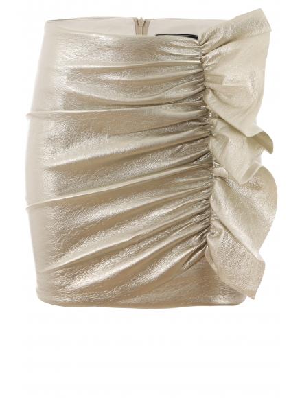 Къса пола от мачкан лак 8480 шампанско