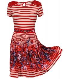 Дамска рокля ВАЛЕНТИ червено райе