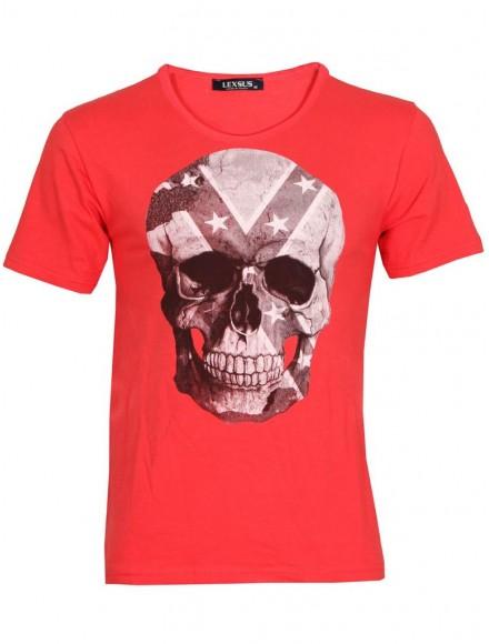 Мъжка тениска slim fit  СКУЛ цвят диня