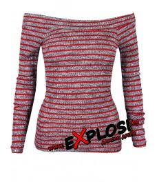 Дамска блуза МОРИС сиво - червено райе