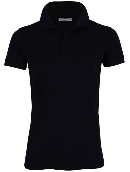 Блуза с якичка Slim fit А125 тъмно синя