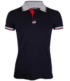 Блуза с якичка Slim fit A607 тъмно синя