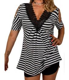Дамска блуза АДЕЛ черно - бяло райе  А - 3