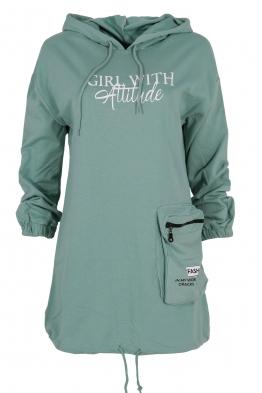 Дамски блузон WITH GIRL зелен