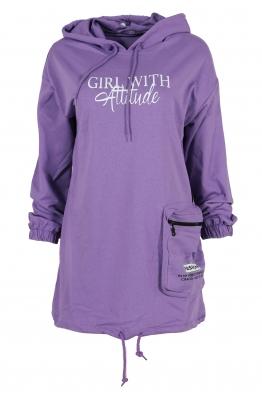 Дамски блузон WITH GIRL лилав