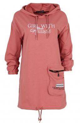 Дамски блузон WITH GIRL розов